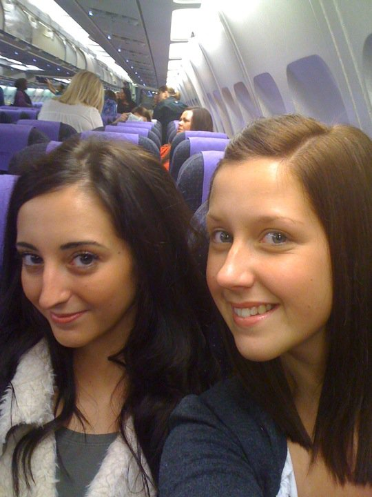 Rach & Nic on the plane