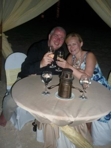 Cheers! - A glass of champagne after our beachfront meal at Excellence Riviera Cancun
