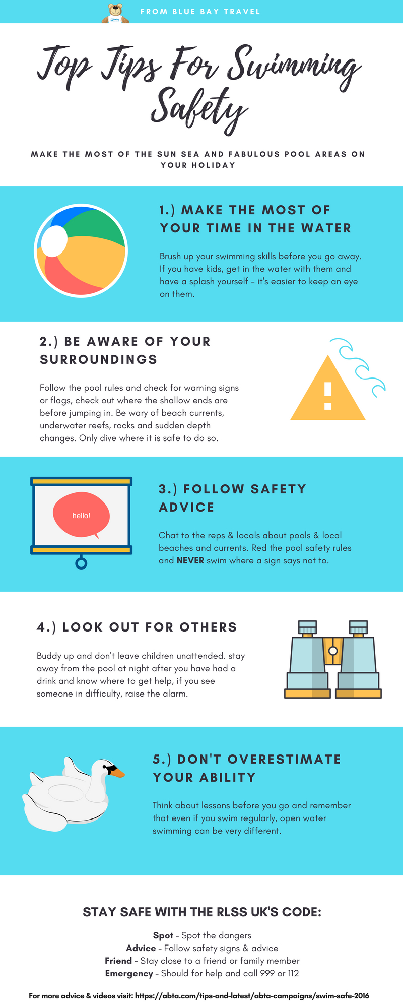 Top Tips fop swimming safety from bluebaytravel.co.uk