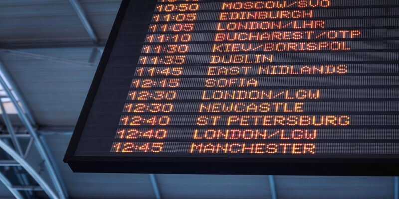Flight destination board
