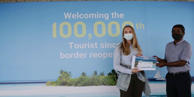 the 100,000th visitor to the Maldives post-pandemic