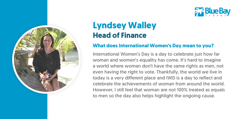 Head of Finance Lyndsey Walley is a whizz with the purse-strings, but she also possesses an extremely cool head to keep Blue Bay financially sound