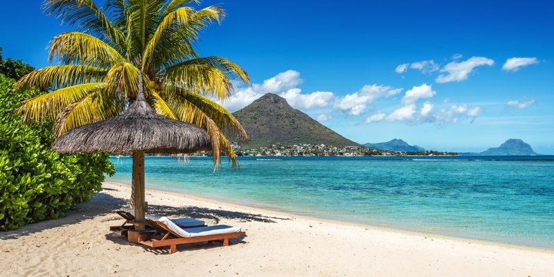 A sun-drenched beach in Mauritius